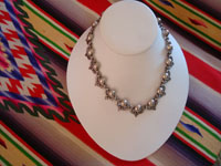 Mexican vintage sterling silver jewelry, and Taxco vintage silver jewelry, a very lovely Taxco silver necklace with a very graceful and elegant design, Taxco, c. 1940's. Main photo of the Taxco silver jewelry necklace.