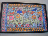 Mexican vintage folk art, a wonderful Amate (on paper made of pounded bark) painting from Amayaltepec, Guerrero, c. 1940's. A closer look at the amate bark painting.