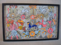 Mexican vintage folk art, an Amate (on paper made of pounded bark) painting featuring wonderful horses and birds amidst floral decorations, Amayaltepec, Guerrero, c. 1940's. A closer look at the bark painting.