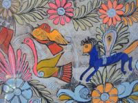 Mexican vintage folk art, an Amate (on paper made of pounded bark) painting featuring wonderful horses and birds amidst floral decorations, Amayaltepec, Guerrero, c. 1940's. A closeup photo of the horse and other decorations of the amate bark painting from Guerrero.