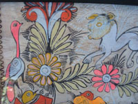 Mexican vintage folk art, an Amate (on paper made of pounded bark) painting featuring wonderful horses and birds amidst floral decorations, Amayaltepec, Guerrero, c. 1940's. Another closeup photo of the decorations of the amate bark painting.