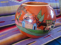 Mexican vintage pottery and ceramics, a beautiful pottery tecomate, a cylindrical bowl, with wonderful and very crisp artwork, Tonala or Tlaquepaque, Jalisco, c. 1930-40's.  Photo of one side of the pottery tecomate from Tonala or Tlaquepaque.