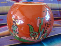 Mexican vintage pottery and ceramics, a beautiful pottery tecomate, a cylindrical bowl, with wonderful and very crisp artwork, Tonala or Tlaquepaque, Jalisco, c. 1930-40's.  Another side of the tecomate or bowl.