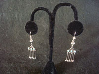 Native American Indian sterling silver jewelry, and Zuni vintage silver jewelry, a lovely pair of Zuni dangling earrings with turquoise, Zuni Pueblo, New Mexico, c. 1930's. Main photo of the Zuni dangling silver earrings.