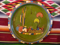 Mexican vintage pottery and ceramics, a wonderul pottery charger with beautiful artwork featuring an endearing Mexican rural village scene, Tlaquepaque or Tonala, Jalisco, c. 1940's. Main photo of the Tlaquepaque pottery charger.