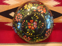 Mexican vintage folk art, a laquer-ware gourd with wonderful decorations, Uruapan, c. 1940's. Main photo of the gourd.