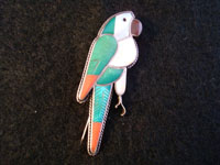Native American Indian jewelry, a vintage sterling silver pin/pendant, depicting a parrot. Very fine inlay with beautiful stones. Zuni, c. 1960.