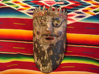 Mexican vintage wood-carving and Mexican vintage folk art, a mask of a European king used in dance celebrations in Apaxtla, Puebla, c. 1920. Main photo.
