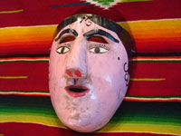 Mexican vintage wood carving and Mexican vintage folk art, a dance mask depicting a European woman, from Guerrero, c. 1930-40. Main photo of mask.