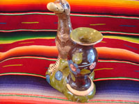 Mexican vintage pottery and ceramics, and Mexican vintage folk art, a pottery duck standing next to a lovely blackware vase, from Tlaquepaque, Jalisco, c. 1930's. Another view of the duck.