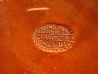 Mexican vintage pottery and ceramics, a wonderful petatillo plate, Tonala, c. 1940's. Closeup photo of the stamp on the back of the plate.