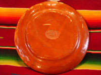 Mexican vintage pottery and ceramics, a wonderful petatillo plate, Tonala, c. 1940's. Photo of back side of plate.