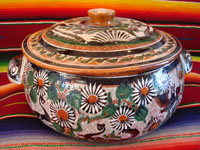 Mexican vintage pottery and folk art, a lovely petatillo casserole with lid, Tonala, Jalisco, c. 1950-60, by famed artist Jose Bernabe. The casserole features wonderful and very intricate floral and zoomorphic figures. Main photo of the casserole.