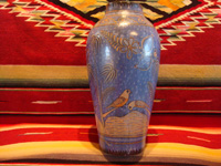 "Mexican vintage pottery and ceramics, a beautiful Tonala burnished vase or large jar with a blue background and a ""starry-night"" background-design, Tonala, Jalisco, c. 1930. Main photo of the vase."
