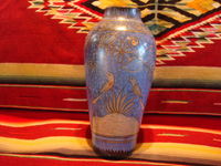 "Mexican vintage pottery and ceramics, a beautiful Tonala burnished vase or large jar with a blue background and a ""starry-night"" background-design, Tonala, Jalisco, c. 1930. Another side-view of the Tonala pottery vase."