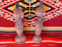Mexican antique wood-carving, a pair of wooden candleholders, c. early to mid-19th century, and possibly from the colonial period.  Main photo.
