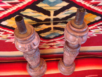 Mexican antique wood-carving, a pair of wooden candleholders, c. early to mid-19th century, and possibly from the colonial period.  A photo shot from above the candleholders.