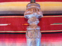 Mexican antique wood-carving, a pair of wooden candleholders, c. early to mid-19th century, and possibly from the colonial period.  A closeup photo of the wood-carved top on one candleholder.