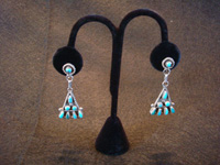 Native American Indian vintage sterling silver jewelry, a pair of Zuni silver earrings with turquoise, c. 1940's.  Main photo of the Zuni silver earrings.