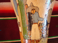 Mexican vintage pottery and ceramics, a lovely and very finely decorated petatillo (the background is filled with very fine hatchwork lines, resembling a Mexican straw-mat or petate) vase, Tonala or Tlaquepaque, Jalisco, c. 1930's. Photo showing another campesino on the side of the vase.