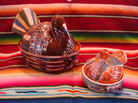 Mexican vintage pottery and ceramics, and Mexican vintage folk-art, lidded casseroles in the form of nesting turkeys, Tonala or Tlaquepaque, Jalisco, c. 1940's. Main photo.