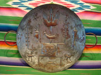 Mexican vintage folk art, and Mexican vintage tinwork and copper art, a beautiful copper tray with hand-hammered figures and decorations, Mexico City, c. 1950.  Main photo of the tray.