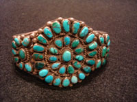 Native American Indian vintage sterling silver jewelry, a lovely Zuni petit-point silver bracelet with beautiful turquoise, Zuni Pueblo, New Mexico, c. 1960's. Main photo of the Zuni silver and turquoise petit point bracelet.