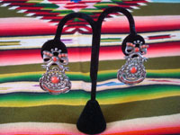 Mexican vintage sterling silver jewelry, and Taxco vintage silver jewelry, a beautiful pair of dangling earrings decorated with coral inlays, signed Matl (Matilde Eugenia Poulat, b. ?-d. 1960), Taxco, c. 1930-40's. Main photo of the Taxco silver jewelry earrings by Matl.