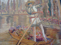 Mexican vintage straw-art (popote art or popotillo), and Mexican vintage folk art, a beautiful straw-art scene of the floating gardens of Xochimilco, with canals filled with flowers, and featuring a campesino paddling his canoe, signed Ariza, c. 1940's.  A closeup of the campesino rowing his canoe.