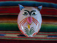 Mexican vintage woodcarving and masks, and Mexican vintage folk art, a mask made of a coconut shell and wonderfully decorated, Villahermosa, Tabasco, c. 1950's. Main photo of the coconut mask.