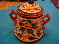 Mexican vintage pottery and ceramics, a very rare and beautiful tea-set, signed by the famous Tonala potter Magdaleno Coldivar Ramos, Tonala, c. 1920-30's. Photo showing the sugar container.