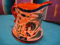 Mexican vintage pottery and ceramics, a very rare and beautiful tea-set, signed by the famous Tonala potter Magdaleno Coldivar Ramos, Tonala, c. 1920-30's. A side view of the creamer.