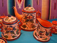 Mexican vintage pottery and ceramics, a very rare and beautiful tea-set, signed by the famous Tonala potter Magdaleno Coldivar Ramos, Tonala, c. 1920-30's. Photo showing the tea-pot, creamer, and sugar container.