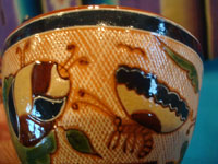 Mexican vintage pottery and ceramics, a very rare and beautiful tea-set, signed by the famous Tonala potter Magdaleno Coldivar Ramos, Tonala, c. 1920-30's. Another closeup photo showing the detailed artwork and fine petatillo background.