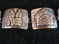 Mexican vintage sterling silver jewelry, and Taxco silver jewelry, a lovely sterling silver pictorial bracelet, Taxco, c. 1940's.  A closeup photo of two of the panels of the Taxco silver jewelry pictorial bracelet.