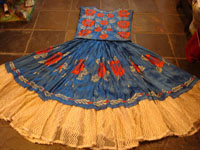 Mexican vintage serapes and textiles, a beautiful Tehuana skirt and huipil, or blouse, with wonderful embroidery and in the style of the women of the Isla de Tehuantepec, c. 1930's. Main photo of the skirt and blouse.