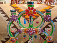Mexican vintage folk art, and Mexican vintage pottery and ceramics, a wonderful pottery tree-of-life with beautiful and very colorful decorations, Izucar de Matamoros, Puebla, c. 1950's. Closeup photo of the top part of the tree-of-life by the Castillo Family.