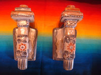 Mexican vintage pottery and ceramics, a pair of beautiful burnished wall candleholder sconces with wonderful floral and geometric decorations, Tonala, Jalsico, c. 1950's.  Main photo of the sconces.