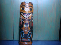 Native American Indian folk art and woodcarvings, a beautiful Northwest Coast large totem pole or house post, Haida, Queen Charlotte Islands, c. 1940's. Main image of the totem pole.