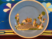 Mexican vintage pottery and ceramics, a lovely plate with a pale-blue background and a wonderful scene of rural Mexican life, attributed to the great Balbino Lucano, Tonala or San Pedro Tlaquepaque, Jalisco, c. 1930's.  Main photo of the plate.