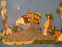 Mexican vintage pottery and ceramics, a lovely plate with a pale-blue background and a wonderful scene of rural Mexican life, attributed to the great Balbino Lucano, Tonala or San Pedro Tlaquepaque, Jalisco, c. 1930's.  Closeup photo of the two donkeys and their campesino owner.