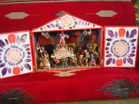 Peruvian vintage folk art, a wonderful Peruvian retablo (devotional scene) depicting a Holy Week procession, by the famous artist, Nicario Jimenez, c. 1980. Main photo of the Peruvian retablo by Nicario Jimenez.