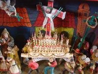 Peruvian vintage folk art, a wonderful Peruvian retablo (devotional scene) depicting a Holy Week procession, by the famous artist, Nicario Jimenez, c. 1980. Another closeup photo of the procession.