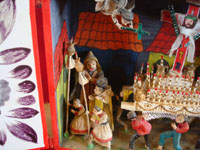 Peruvian vintage folk art, a wonderful Peruvian retablo (devotional scene) depicting a Holy Week procession, by the famous artist, Nicario Jimenez, c. 1980. Closeup photo of the first part of the procession.
