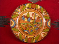 Mexican vintage pottery and ceramics, a lovely pottery plate with a petatillo (cross-hatching resembling a straw mat or petate) and wonderful colors and artwork, Tonala or San Pedro Tlaquepaque, c. 1930's.  Main photo of the petatillo plate.