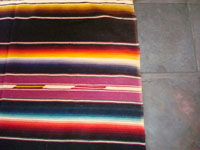 Another closeup photo of the vintage Mexican textile, a Saltillo Sarape.