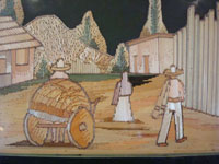 Mexican vintage straw-art, popote or popotillo, another closeup photo.