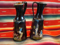 Mexican vintage pottery and folk art, a pair of blackware pouring vessels from Tlaquepaque, Jalisco, c. 1930-40. The vessels are decorated with very inticate scenes. Main photo.