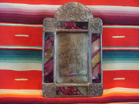 Mexican vintage devotional art and tinwork art, a beautiful tin art nicho with an old print of San Ysidro tending his cattle, c. 1930.  Main photo.