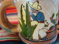 Mexican vintage pottery and folk art, a pair of wonderful petatillo pulque or beer mugs with beautiful scenes, Tonala, Jalisco, c. 1930-40's. These are attributed to the famous Tonala artist, Balbino Lucano. Closeup of a campesino on one of the mugs.